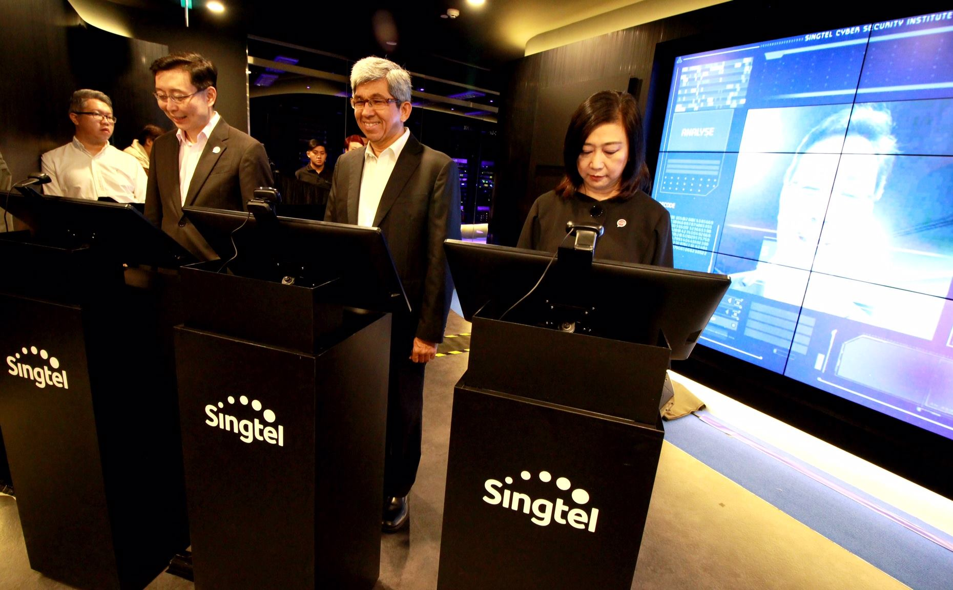 Launch of Singtel Cyber Security Institute using a biometric facial recognition system